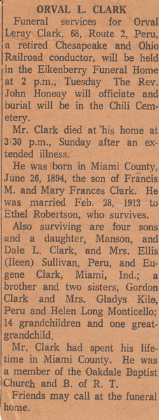 Newspaper Clipping - Obituary - Orval Leroy Clark - April 28, 1963.jpg