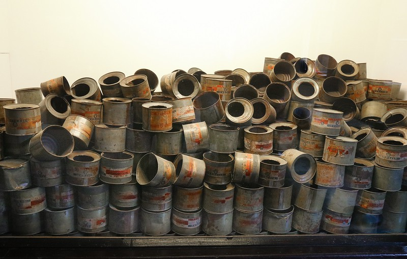 Zyklon B pellet cans used to gas the prisoners. After the war both the owner and the CEO of the company supplying the pellets were convicted and executed as accomplices to mass murder because they clearly knew how the pellets were being used but continued shipments.
