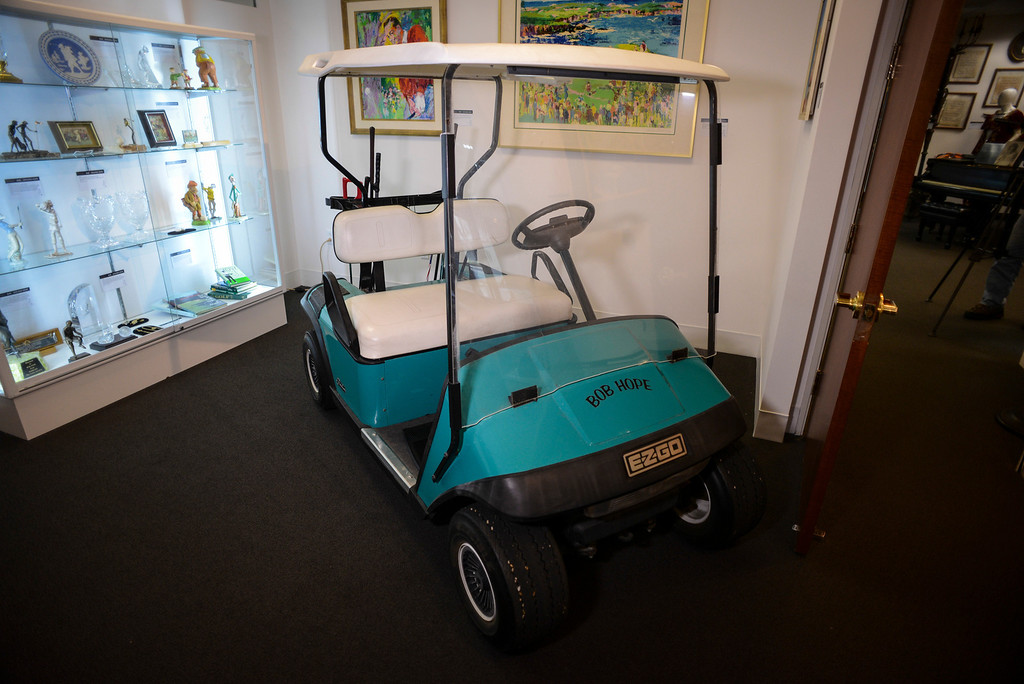 . Bob Hope\'s golf cart, one of the items from the estate of Bob Hope to be auctioned off by Julien\'s Auctions in Beverly Hills, CA.  September 9, 2013.  The auction is combined with an auction of Phyllis Diller items.    (Photo by David Crane/Los Angeles Daily News)