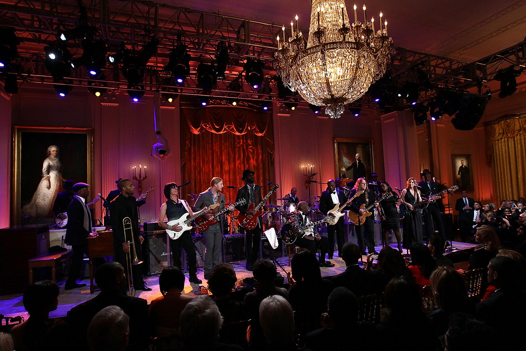 . Blues legend B.B. King performs with an all-star cast at a White House event titled In Performance at the White House: Red, White and Blues February 21, 2012 in Washington, DC.    (Photo by Win McNamee/Getty Images)