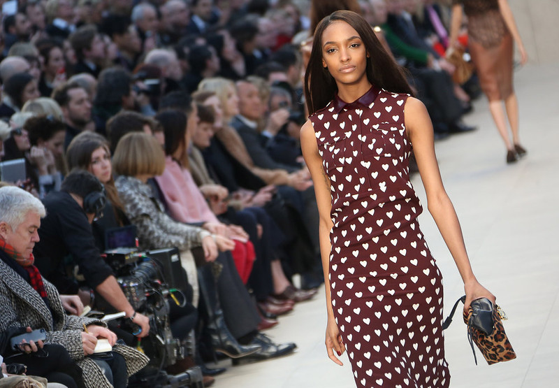 . British model Jourdan Dunn wears a design created by Burberry Prorsum during London Fashion Week, at Kensington Gardens in west London, Monday, Feb. 18, 2013. (Photo by Joel Ryan/Invision/AP)
