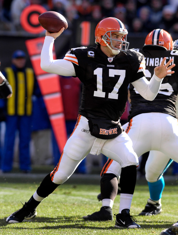 . News-Herald file Browns quarterback Jake Delhomme looks to pass during the first quarter Sunday at Cleveland Browns Stadium.