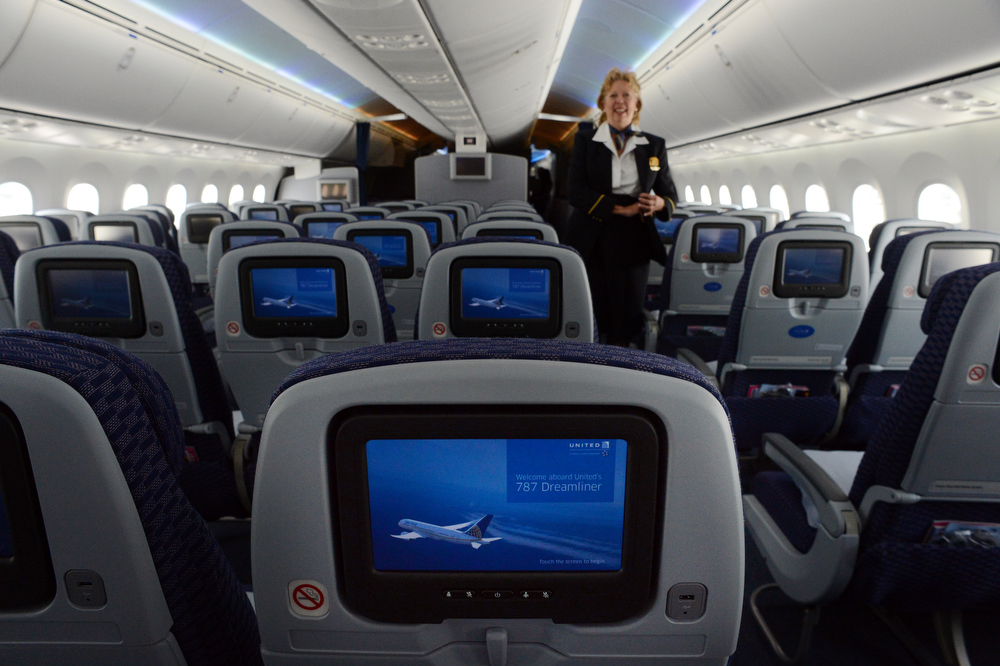 . The personal entertainment system on the 787 Dreamliner. United Airlines brought a Dreamliner to Denver International Airport on Thursday, Nov. 29, 2012.  By March, the new jet is scheduled to begin flying between Denver International Airport and Japan\'s Narita International Airport. Craig F. Walker, The Denver Post