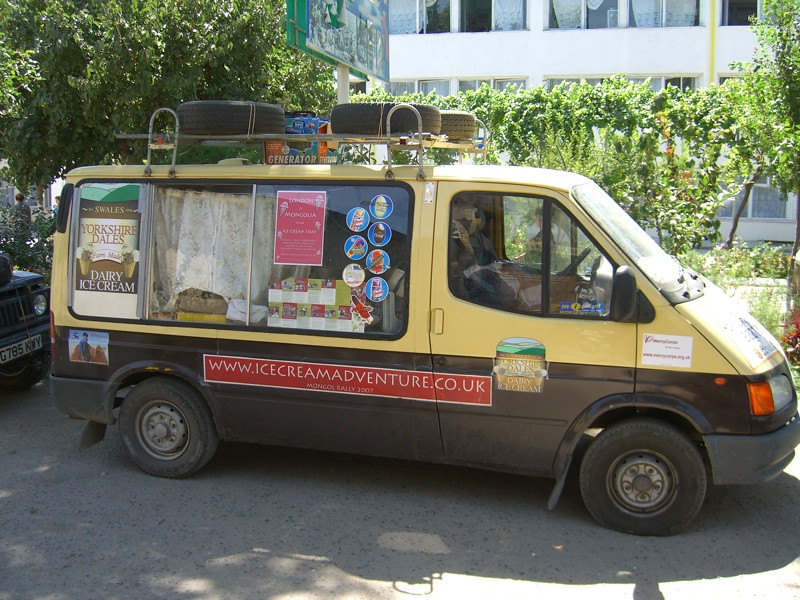 Ice Cream Van as Mongol Rally Car- Samarkand, Uzbekistan