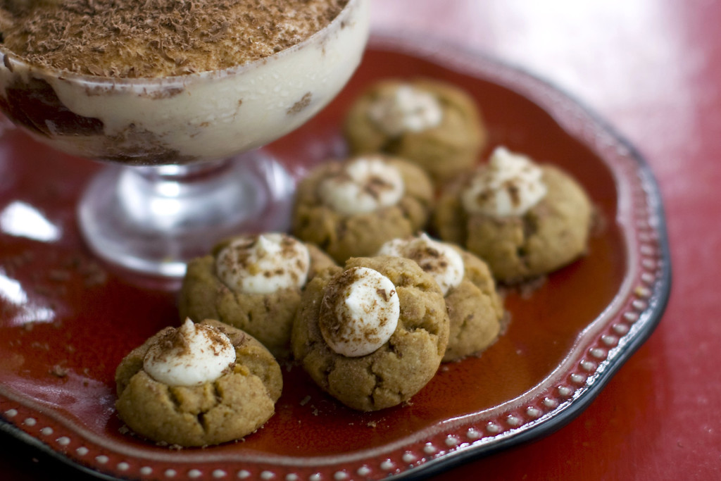 ". After baking, these cookies are topped with a mascarpone cream and sprinkled with chocolate. <a href=""https://www.yahoo.com/news/tiramisu-reimagined-holiday-cookie-200319543.html?ref=gs\"">Get the recipe for tiramisu drops</a>.  (AP Photo/Matthew Mead)"