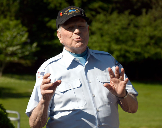 5/24/2018 Mike Orazzi | Staff Omer Deabay talks about the Korean War during the monument tour for Bristol high school students Thursday morning on Memorial Blvd.