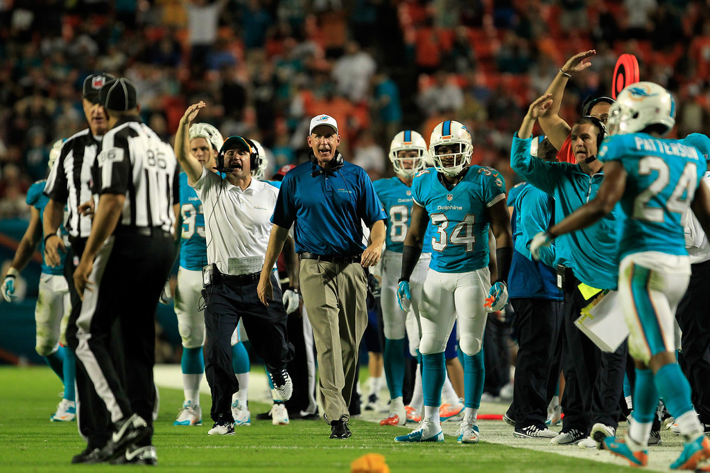 . MIAMI GARDENS, FL - OCTOBER 31: Head coach Joe Philbin of the Miami Dolphins coaches during the second quarter against the Cincinnati Bengals at Sun Life Stadium on October 31, 2013 in Miami Gardens, Florida.  (Photo by Chris Trotman/Getty Images)