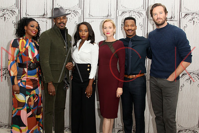 """NEW YORK, NY - OCTOBER 05:  Aunjanue Ellis, Colman Domingo, Aja Naomi King, Penelope Ann Miller, Nate Parker and Armie Hammer attend The Build Series to discuss """"The Birth Of A Nation"""" at AOL HQ on October 5, 2016 in New York City."""
