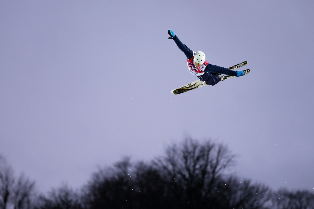 . Mykola Puzderko of the Ukraine competes in the Freestyle Skiing Men\'s Aerials Qualification on day ten of the 2014 Winter Olympics at Rosa Khutor Extreme Park on February 17, 2014 in Sochi, Russia.  (Photo by Mike Ehrmann/Getty Images)