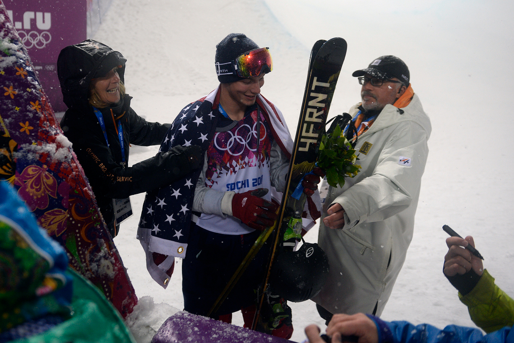 . David Wise smiles upon winning the gold for the United States during the men\'s ski halfpipe final. Sochi 2014 Winter Olympics on Tuesday, February 18, 2014. (Photo by AAron Ontiveroz/The Denver Post)