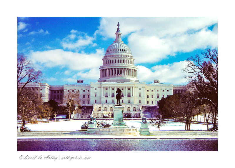 West Side of US Capitol and Grant Statue in winter
