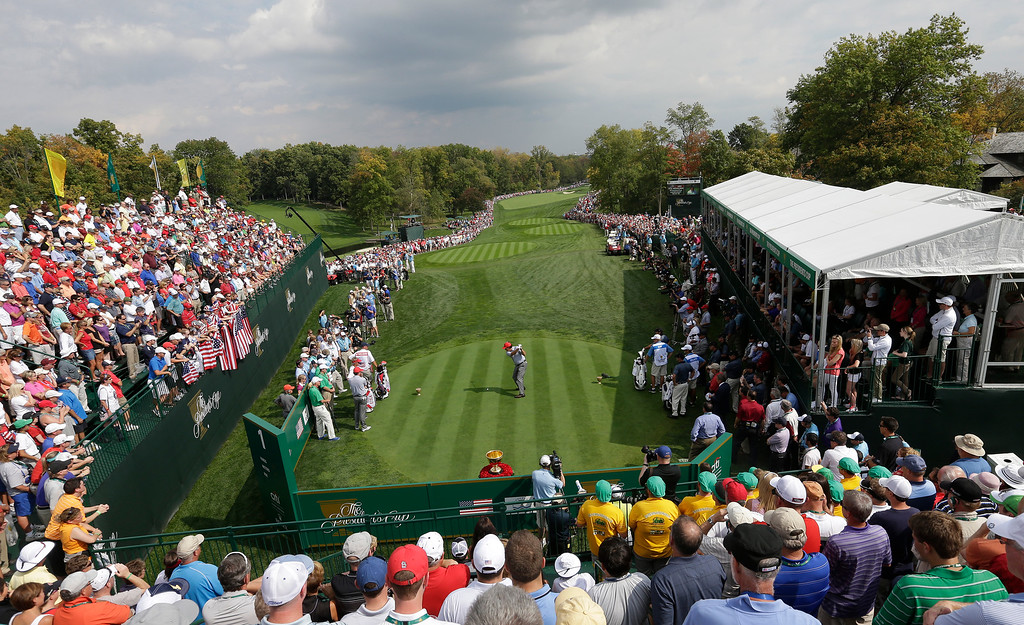 . United States\' Phil Mickelson tees off on the first hole during a foursome match against the International team at the Presidents Cup golf tournament at Muirfield Village Golf Club Friday, Oct. 4, 2013, in Dublin, Ohio. (AP Photo/Darron Cummings)