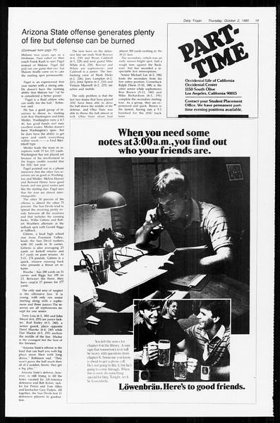 Daily Trojan, Vol. 89, No. 14, October 02, 1980