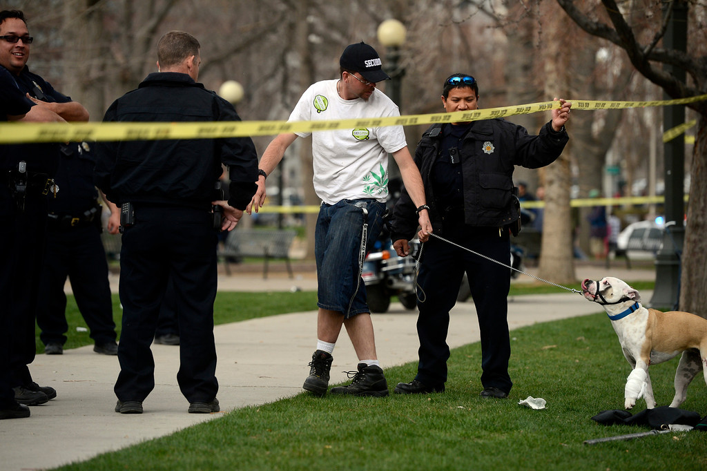 . DENVER, CO. - APRIL 20TH: A Denver Police officer holds up police tape for a man and his dog at the southeast side of Civic Center Park after a shooting there Saturday afternoon, April 20th, 2013. (Photo By Andy Cross/The Denver Post)