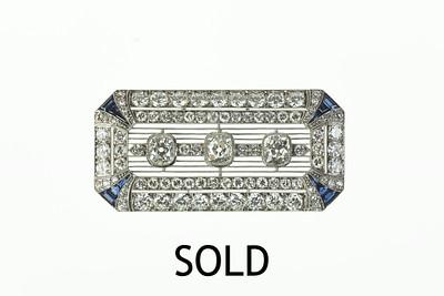 Platinum, Diamond and Sapphire Art Deco Brooch