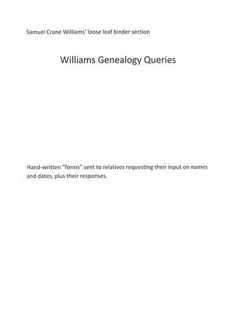 Sam Binder - Williams Gen queries