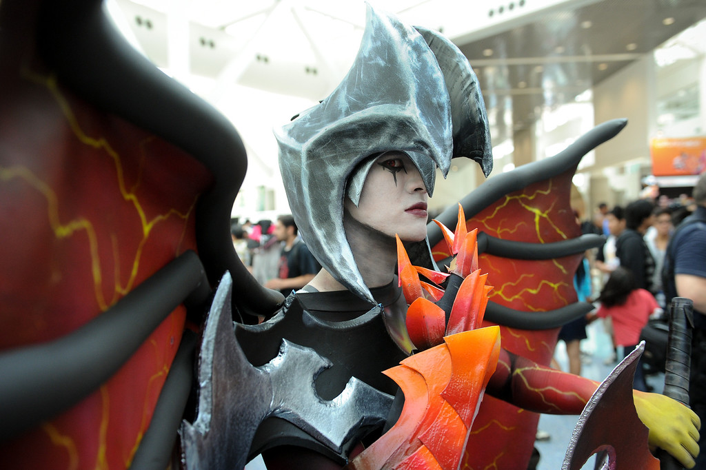 ". Oliver Holmes is dressed as the character ""Aatrox\"" from League of Legends at the Anime Expo at the L.A. Convention Center, Saturday, July 6, 2013. (Michael Owen Baker/L.A. Daily News)"