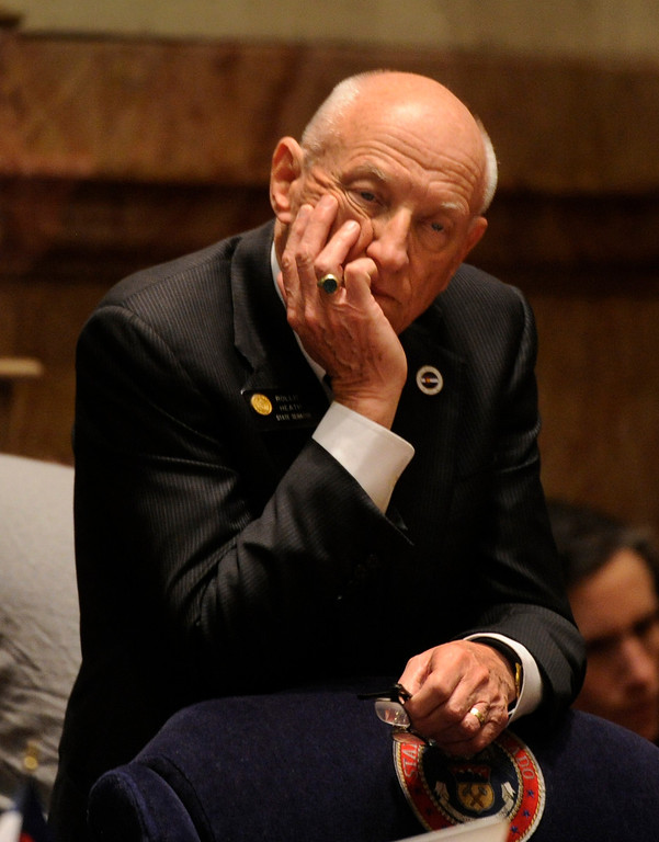. DENVER, CO. - MARCH 8: Senator Rollie Heath (D-Boulder) listened to Republicans oppose House Bill 1224 that would limit ammunition magazines to 15 rounds. The Colorado Senate continued to debate various gun control measures Friday night, March 8, 2013. (Photo By Karl Gehring/The Denver Post)