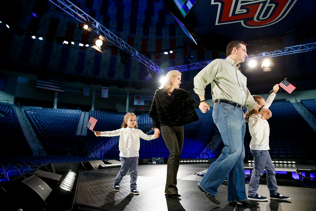 . Sen. Ted Cruz, R-Texas, his wife Heidi, and their two daughters Catherine, 4, left, and Caroline, 6, right, practice walking on stage during a walk-through for Cruz\'s Monday morning speech where he will launch his campaign for president of the United States at Liberty University on Sunday, March 22, 2015 in Lynchburg, Va. Cruz will be the first major candidate in the 2016 race for president. (AP Photo/Andrew Harnik)