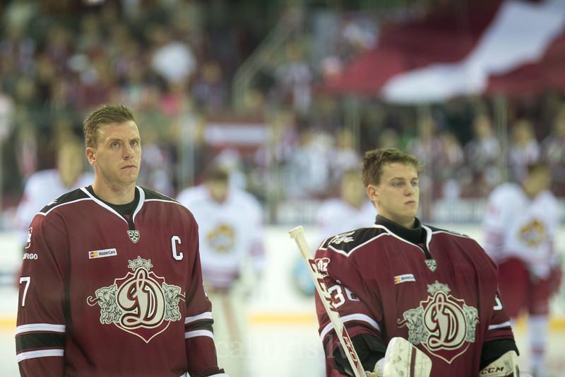 Gints Meija (87) in the beginning ceremony of the KHL regular championship game between Dinamo Riga and Jokerit, played on September 13, 2016 in Arena Riga