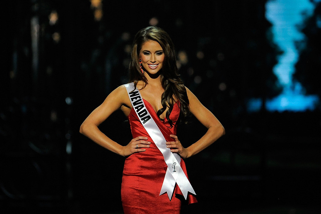 . Miss Nevada USA Nia Sanchez competes in the 2014 Miss USA Competition at The Baton Rouge River Center on June 8, 2014 in Baton Rouge, Louisiana.  (Photo by Stacy Revere/Getty Images)