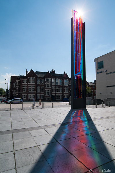 Stained glass sculpture at entrance of Metropolitan Cathedral Liverpool