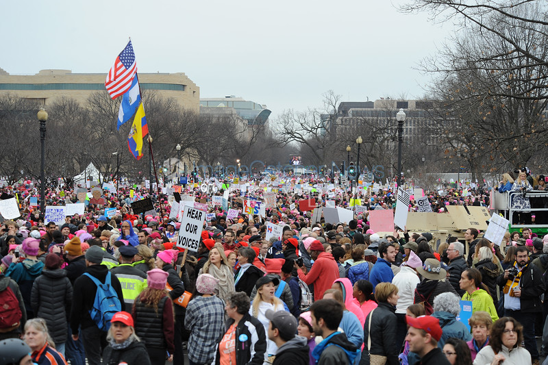 Protesters swarm the  streets of Washington DC to protest the inauguration of President  Donald Trump the day before.