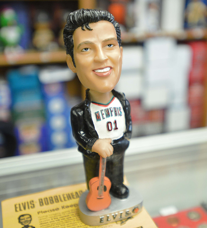 . 04-26-2013-(LANG Staff Photo by Sean Hiller)- David Perahia and Kevin Kong have the world\'s biggest bobblehead store in Lomita called Baseball Cards and Bobbleheads Inc. They have a one of a kind Elvis bobblehead.