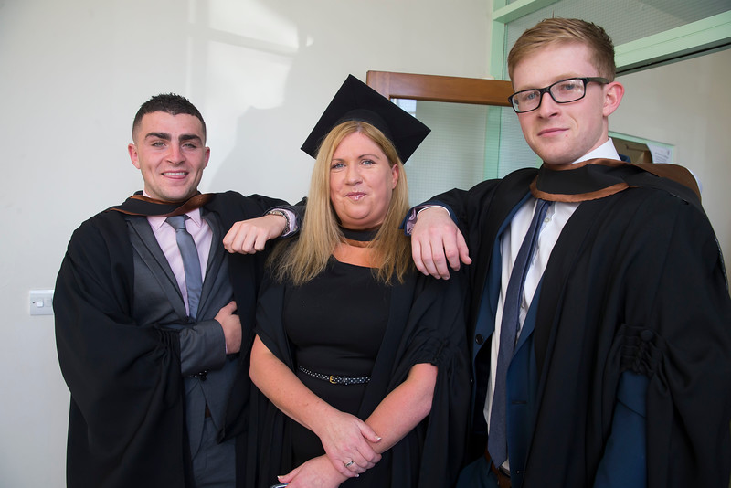 29/10/2015. Waterford Institute of Technology Conferring. Pictured are Stephen Roche, Waterford, Sadra Reid, Ardmore and John Larkin, Wexford who Graduated Bachelor of Business (Hons). Picture: Patrick Browne