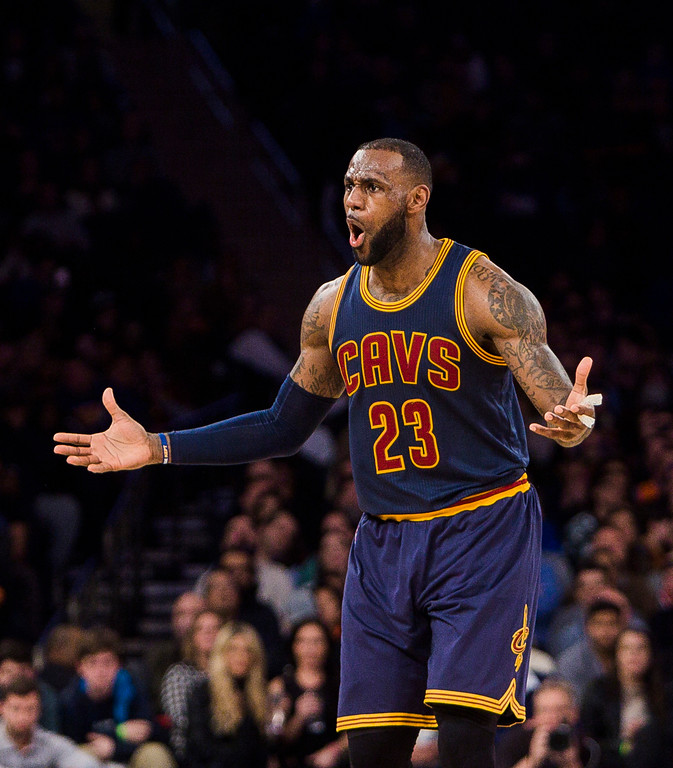 . Cleveland Cavaliers\' LeBron James questions a call during the second half of the team\'s NBA basketball game against New York Knicks, Saturday, Feb. 4, 2017, in New York. (AP Photo/Andres Kudacki)