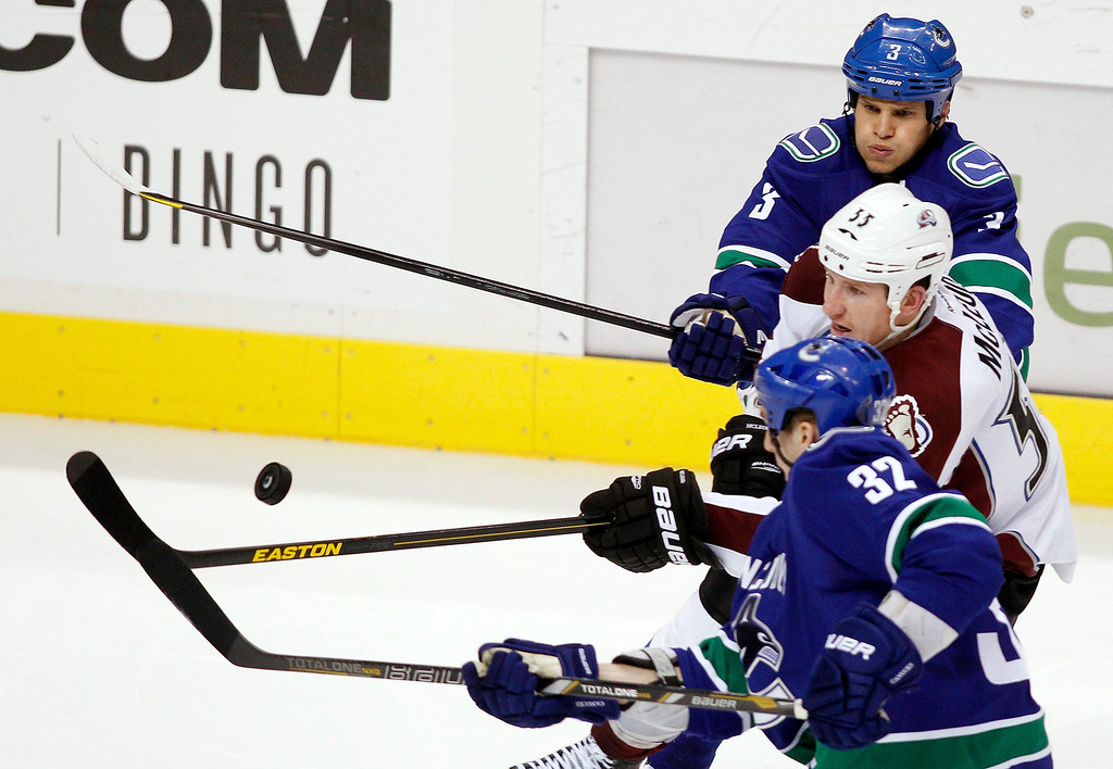 . Vancouver Canucks\' Kevin Bieksa (3) and Dale Weise (32) fight for the puck against Colorado Avalanche\'s Cody McLeod during the second period of their NHL hockey game in Vancouver, British Columbia January 30, 2013.   REUTERS/Ben Nelms