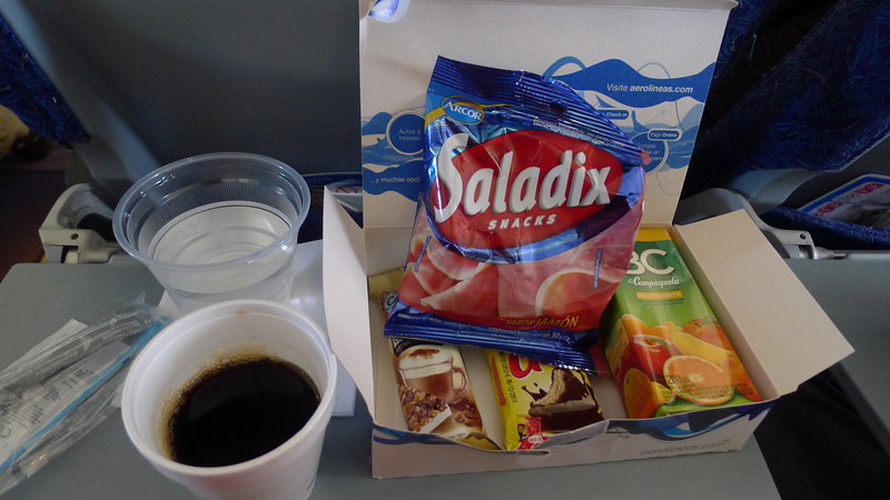"the food box on Aerolineas Argentinas flights, as experienced on 4 domestic flights.  The meat flavoring of the crackers was ""different"".  Bust is was nice to experience something from all the US Airlines long forgotten past...."