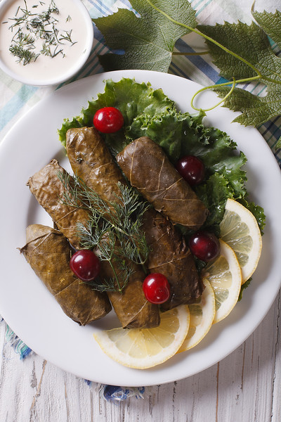 Dolma: Grape Leaves Stuffed With Meat Close-up, Vertical Top View
