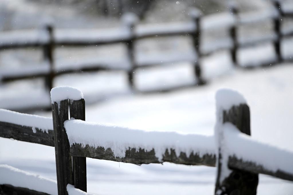 . Fresh snow along a fence near the Cherry Creek bike path near Yale Ave Thursday morning,  Feburary 21st, 2013. Andy Cross, The Denver Post