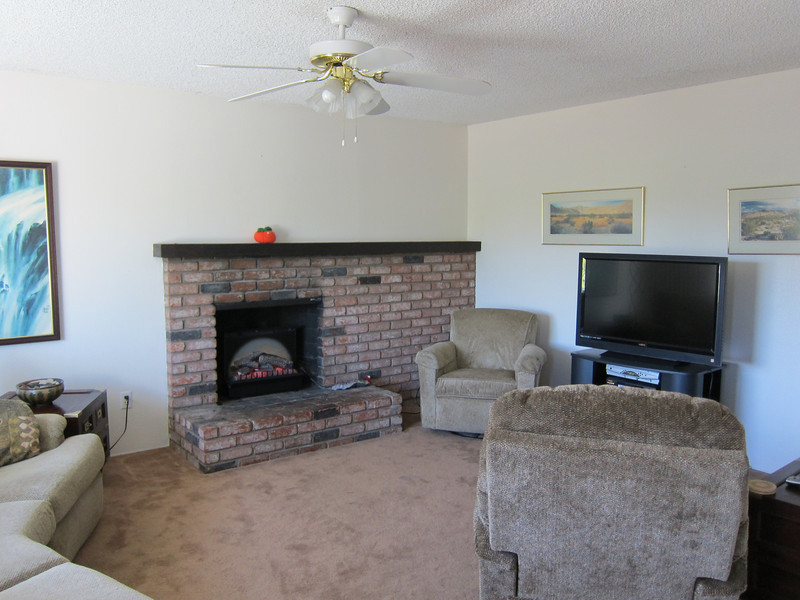 The wood burning fireplace has an electric insert for atmosphere...