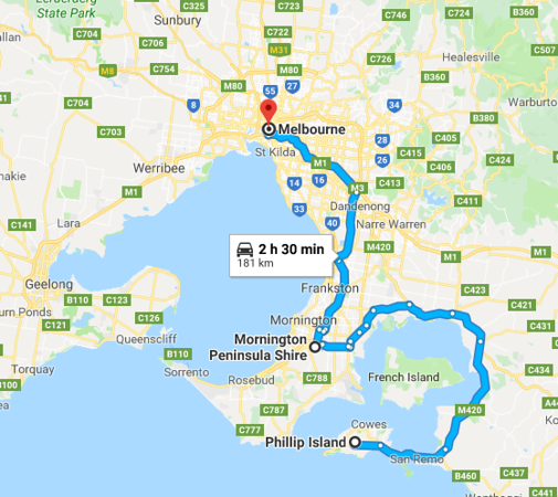 Map from Phillip Island to Melbourne