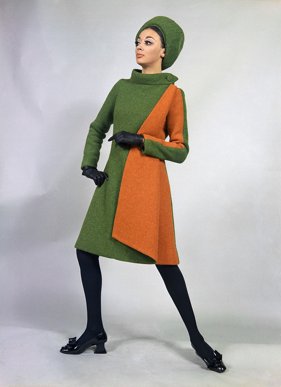 . A mantle of green and orange-red wool, a creation by the Emilio Schuberth fashion house of Rome, to be presented at its show of fall and winter fashions, July 17, 1968. (AP Photo/Mario Torrisi)