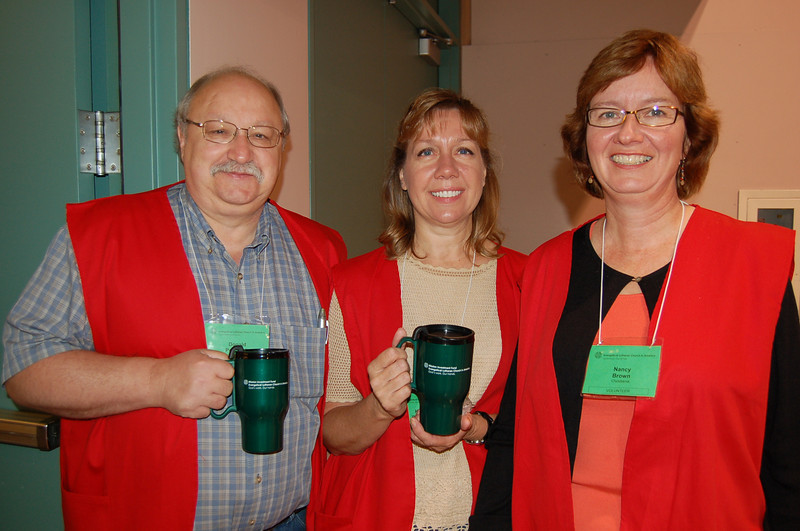 Assembly volunteers with their new bio-degradable mugs!