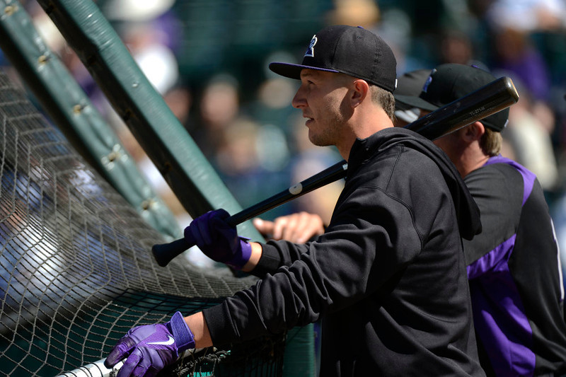 . Colorado Rockies Troy Tulowitzki waits his turn to take batting practice during a workout at Coors Field. The Colorado Rockies held an open practice for the fans April 4, 2013 at Coors Field. (Photo By John Leyba/The Denver Post)