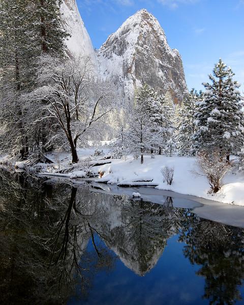 Winter Reflection, Cathedral Rocks Yosemite National Park California