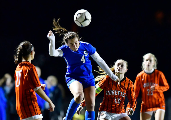11/19/2019 Mike Orazzi | Staff Southington High School's Jessica Carr (4) during the Class LL Semifinal Girls Soccer match with Ridgefield at Naugatuck High School Tuesday night. Southington advanced to the final 1-0.
