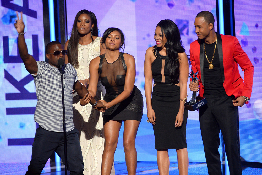 . Actors Kevin Hart, Gabrielle Union, Taraji P. Henson, Regina Hall, and Terrence J speak onstage during the 2013 BET Awards at Nokia Theatre L.A. Live on June 30, 2013 in Los Angeles, California.  (Photo by Mark Davis/Getty Images for BET)