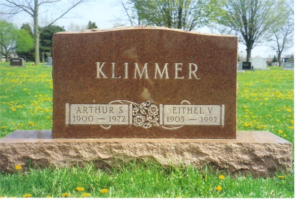 Gravestone for Arthur and Eithel Klimmer