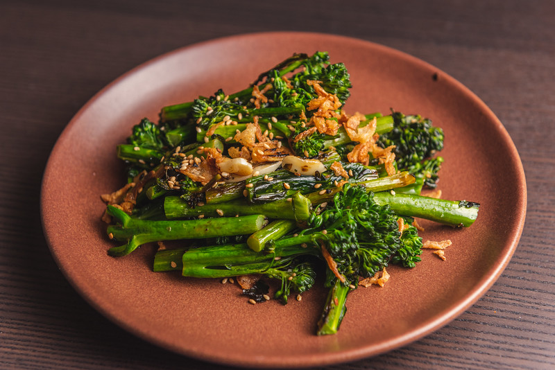 broccolini with sesame and onion