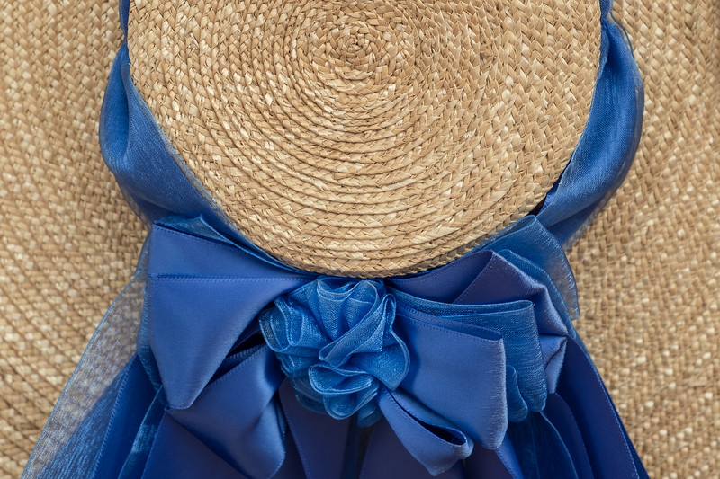 18th Century Style Colonial Hat and Ribbon detail in blue