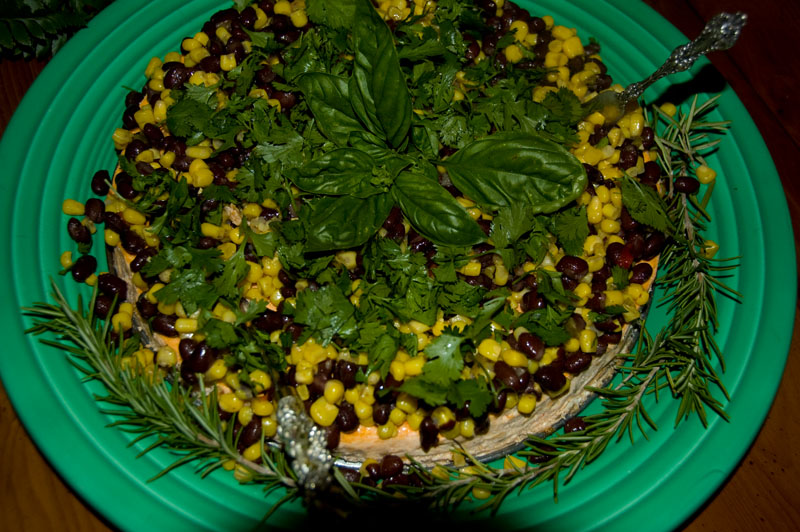 Mexican cheese cake... too pretty to eat, but we did... down to the last bean I think!