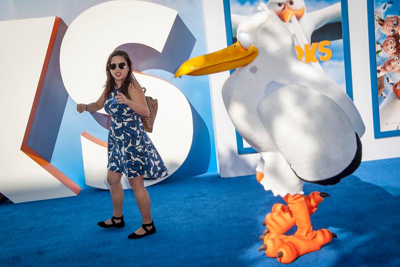 WESTWOOD, CA - SEPTEMBER 17: Atmosphere of Justine Sy walking a Stork at the premiere of Warner Bros. Pictures' 'Storks' at Regency Village Theatre on Saturday September 17, 2016 in Westwood, California. (Photo by Tom Sorensen/Moovieboy Pictures)