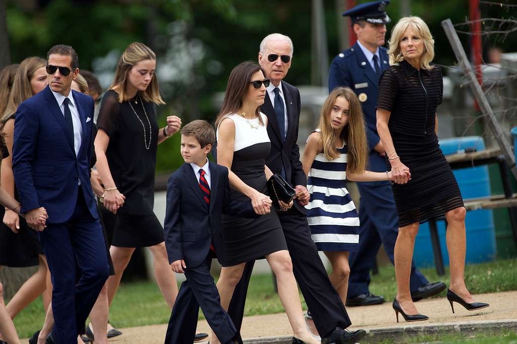 . U.S. Vice President Joe Biden (C)  and his wife Dr. Jill Biden (R) arrive with family for a mass of Christian burial at St. Anthony of Padua Church for there son, former Delaware Attorney General Beau Biden, on June 6, 2015 in Wilmington, Delaware. U.S. President Barack Obama is expected to deliver a eulogy for the son of Vice President Joe Biden after he died at 46 following a two-year battle with brain cancer.  (Photo by Mark Makela/Getty Images)