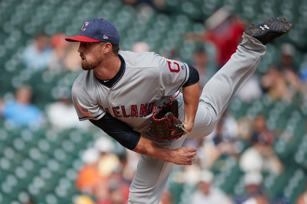 . Cleveland Indians relief pitcher Shawn Armstrong pitches against the Detroit Tigers in the ninth inning of a baseball game in Detroit, Sunday, July 2, 2017. Cleveland won 11- 8. (AP Photo/Rick Osentoski)