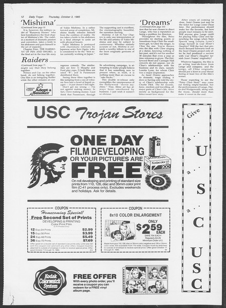 Daily Trojan, Vol. 100, No. 23, October 03, 1985